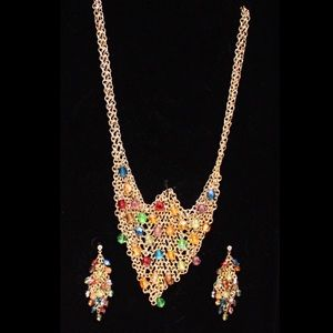 Gold mesh colorful stone necklace, earrings set